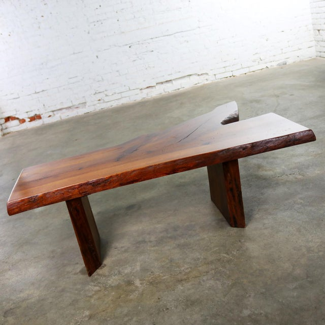 Late 20th Century Live Edge Solid Slab Coffee Table or Bench in the Style of George Nakashima For Sale - Image 5 of 13