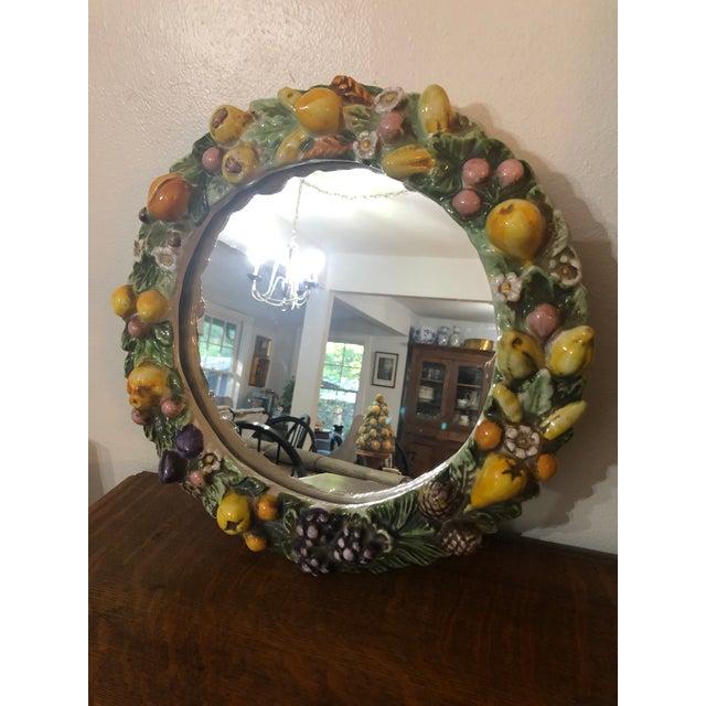 Glass Vintage Italian Ceramic Della Robbia Wreath Mirror For Sale - Image 7 of 9