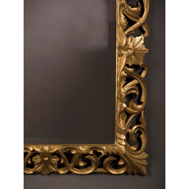 Gold 19th Century French Baroque Style Gold Leaf Framed Beveled Mirror For Sale - Image 8 of 8