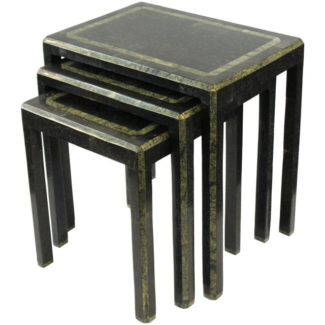 Maitland-Smith Modern Nesting Tables in Tessellated Stone - Set of 3 For Sale - Image 13 of 13
