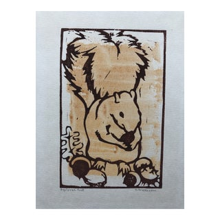 Squirrel Food Woodcut by Dickson 1970s For Sale