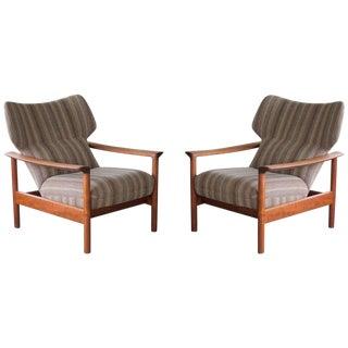 Pair of Danish Midcentury Easy Chairs in Teak For Sale