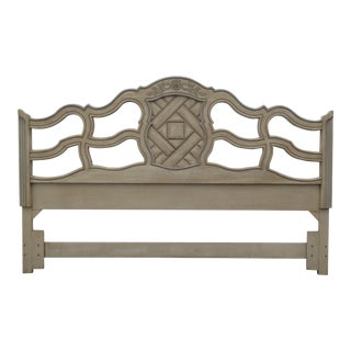 Vintage French Country Off White King Headboard Chic Shabby For Sale