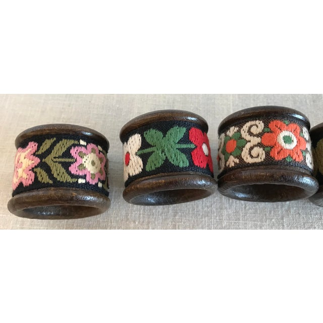 Vintage Wood & Woven Napkin Rings - Set of 6 For Sale - Image 5 of 7