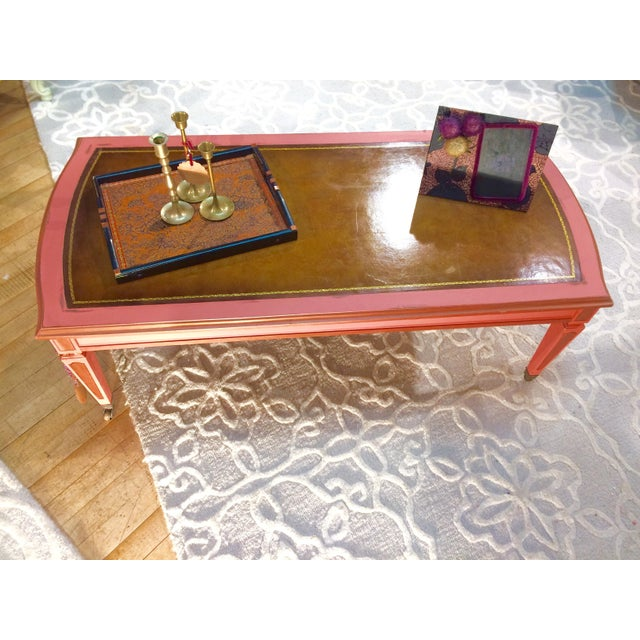 Leather Top Coffee Table - Image 4 of 8