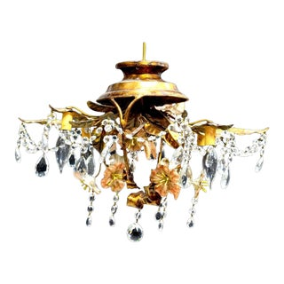 Vintage Four-Light Flower Basket Chandelier For Sale