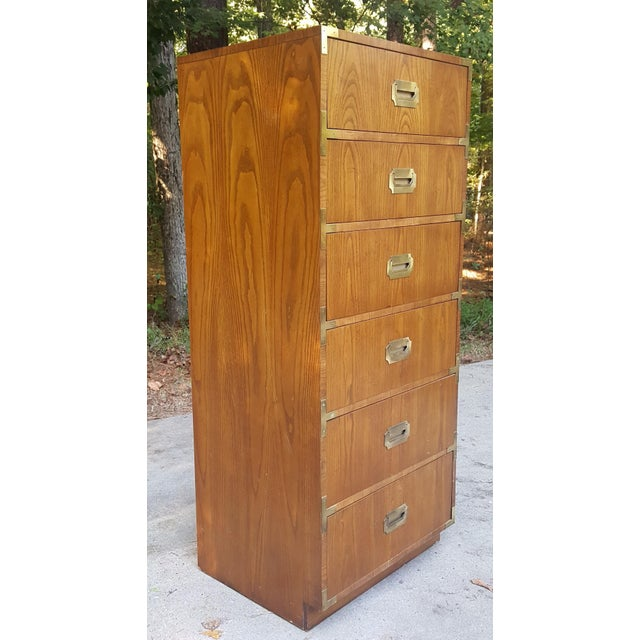Brass Vintage Dixie Campaign Style Lingerie Chest of Drawers For Sale - Image 7 of 10