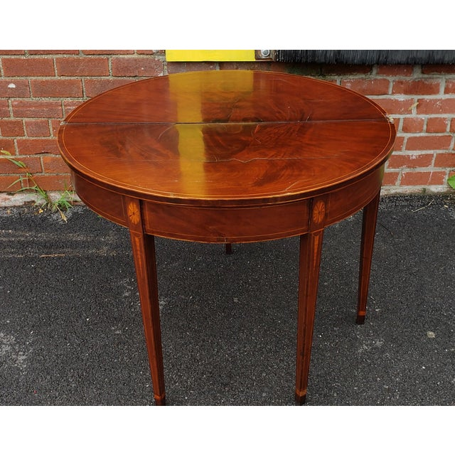 Wood American Federal Inlaid & Figured Mahogany Demilune Games Table Rhode Island or Connecticut C1795 For Sale - Image 7 of 13