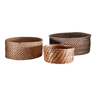Set of three folk art baskets, Sweden, 19th Century For Sale