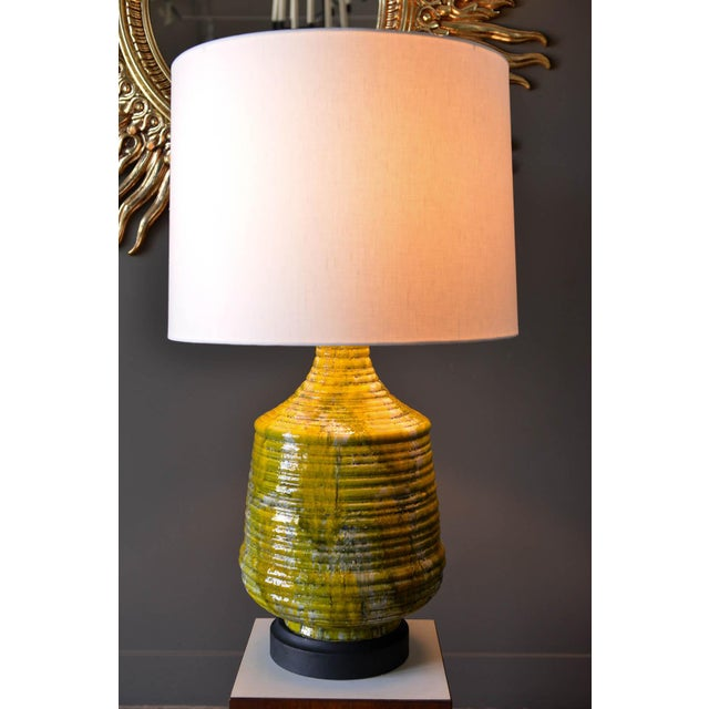 Mid-Century Modern Large Textured Ceramic Table Lamp, Circa 1975 For Sale - Image 3 of 8