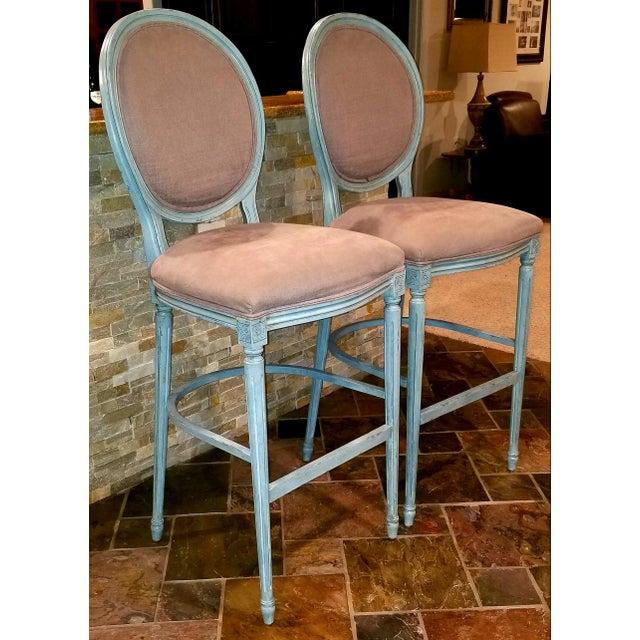 Excellent Sarreid Louis Xvi Round Back Bar Stools A Pair Chairish Dailytribune Chair Design For Home Dailytribuneorg