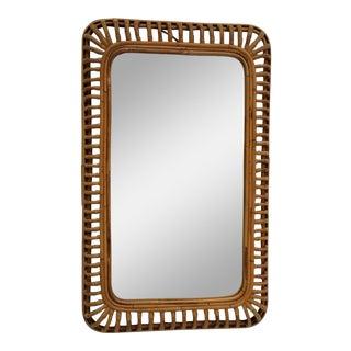 1980s Mid- Century Modern Franco Albini Style Rattan Wall Mirror