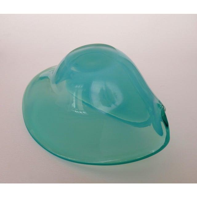 C. 1960's Mid-Century Italian Hand-Blown Murano Seafoam Green & Sky Blue Clamshell Bowl by Alfredo Barbini For Sale - Image 12 of 13