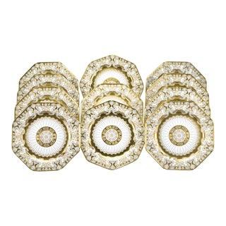 12 Cauldon Octagonal Service Plates, Art Nouveau Raised Gold and Sky Blue Ground For Sale