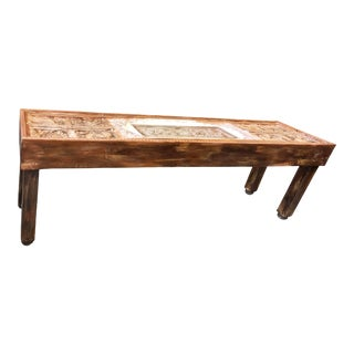 Antique Sofa Table Tribal Carving Haveli Indian Stone Arch Console For Sale