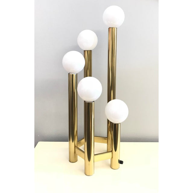 Mid-Century Brass Globe Table Lamp For Sale In San Francisco - Image 6 of 6