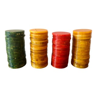 Red, Yellow, Green Bakelite Poker Chips For Sale