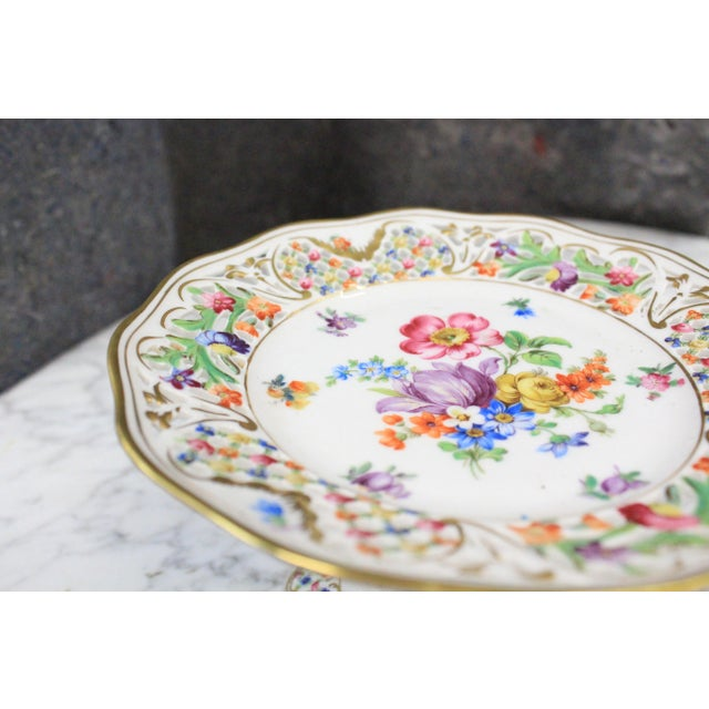 Mid 20th Century Dresden Floral Punched Tazza DIsh For Sale - Image 5 of 7