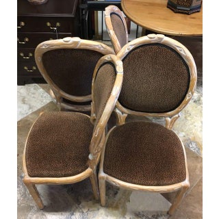 Boho Chic Faux Bois Brown Velvet Side Chairs - Set of 4 Preview