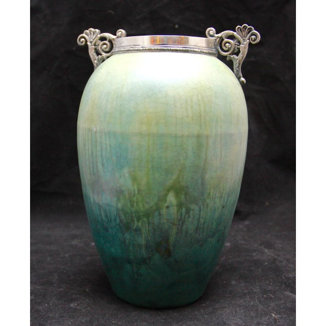 French Art Nouveau Cucumber Glaze Urn With Sterling Rim and Handles Attributed to Eugene Baudin - Image 4 of 8