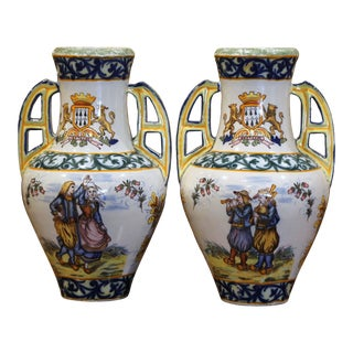 19th Century French Hand Painted Faience Vases Signed Hr Quimper - a Pair For Sale