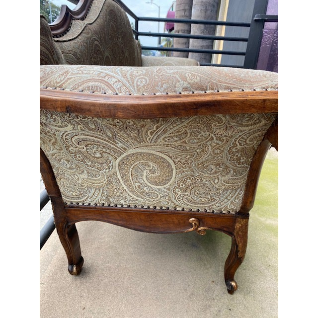 Wood Early 19th C. French Walnut Settee With Guilt Accents For Sale - Image 7 of 13