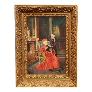 Early 20th Century French Painting with Priest and Cardinal Signed M. R.
