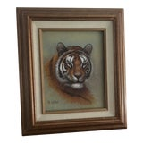 Image of 1980s Framed Tiger Painting For Sale