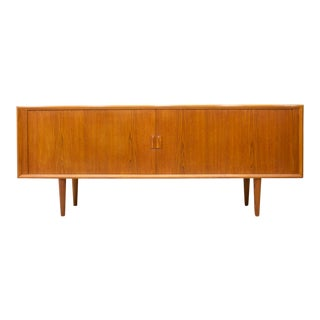 Rare Large Teak Sideboard With Tambour Doors by Svend Aage Madsen Denmark For Sale
