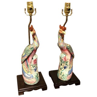 Pair of Chinese Export Famile Verte Birds of Paradise Figures, Now as Lamps For Sale