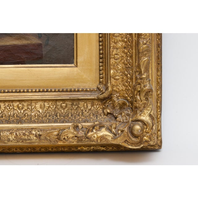 19th Century Floral Still Life Oil Painting Set in Ornate Gold Frame For Sale - Image 4 of 9