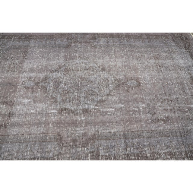 "Turkish Gray Overdyed Floor Rug - 5'10"" x 9'1"" For Sale - Image 5 of 7"
