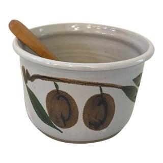 Vintage Ceramic Bowl & Wooden Serving Spoon- 2 Pieces For Sale