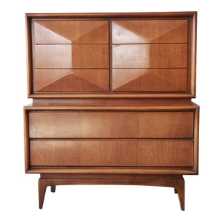 Diamond Front Highboy Dresser by United For Sale