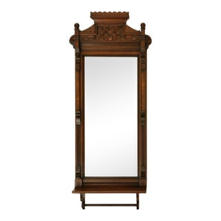 Circa 1820s Carved Solid Mahogany Wall Mirror with Shelf For Sale