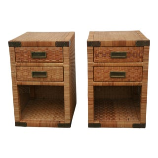 Pair of Rattan Tables or Nightstands With Brass Campaign Accents For Sale