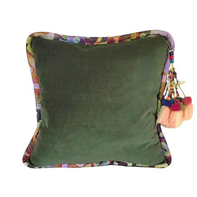 Forest Green / Bakuba Lodge Velvet Throw Pillow For Sale