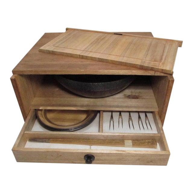 Vintage Appetizer Trays & Forks Serving Set, 12 Piece Silver Plates Wood Box Japanese Asian For Sale