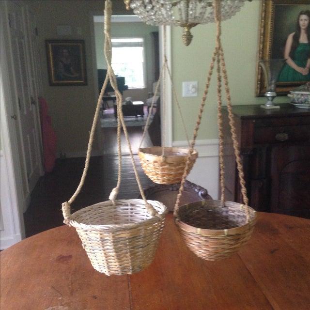 Vintage Hanging Wicker Baskets - Set of 3 - Image 4 of 11