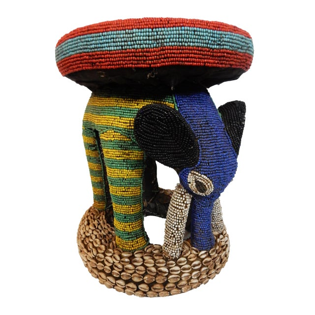 African Beaded Bamileke Elephant Stool - Image 1 of 10