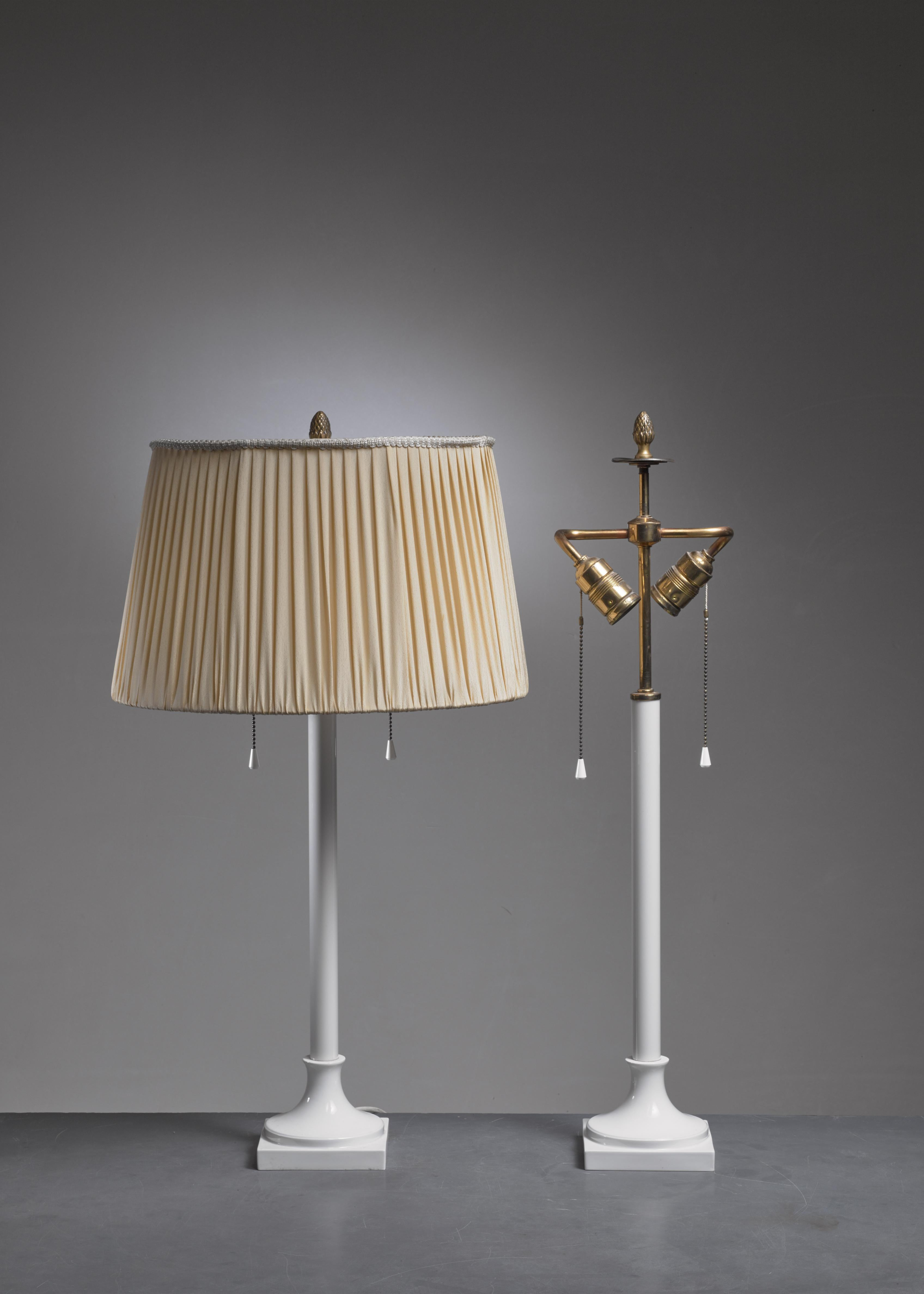 Pair Of White Porcelain Table Lamps By KPM Berlin, 1930s   Image 2 Of 4