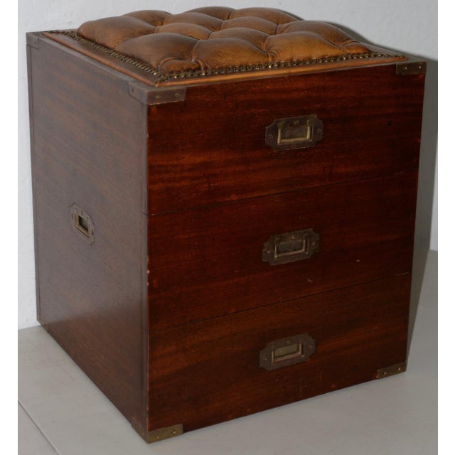 Campaign 19th Century Campaign Mahogany Storage Chest W/ Tufted Leather Seat For Sale - Image 3 of 7