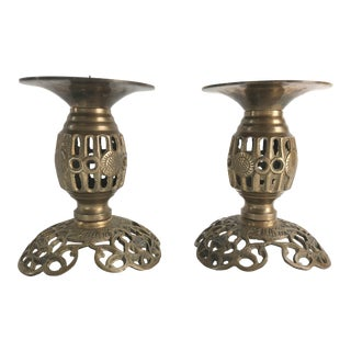 1960s Vintage Chinese Reticulated Brass Candle Holders - a Pair For Sale