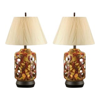 Pair of Pierced Ceramic Lamps in Yellow Ochre, Caramel and Paprika For Sale