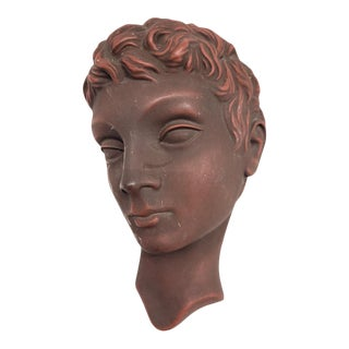 Vintage Art Deco Style Face Wall Sculpture For Sale