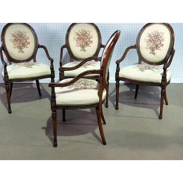 Early 20th Century Set of 4 Adams Style Arm Chairs For Sale - Image 5 of 9