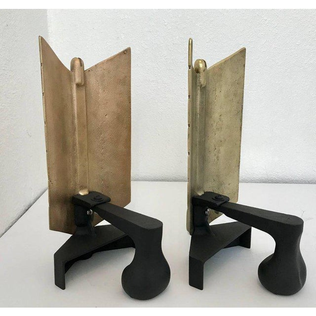 Gold Large Brass and Iron Arrow Andirons - a Pair For Sale - Image 8 of 12