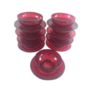 Ruby Glass Art Deco Finger Bowls & Underplates - 9 For Sale