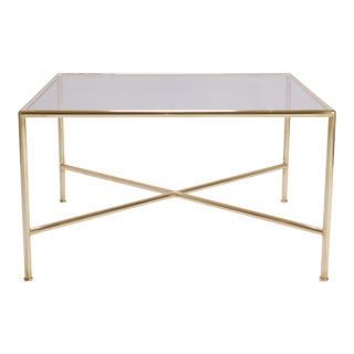 Brass and Glass Tubular Square Cocktail Table For Sale