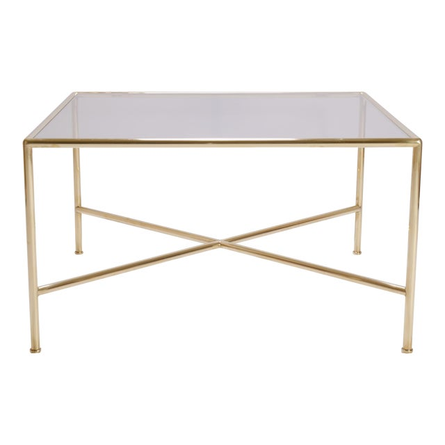Brass And Glass Tubular Square Cocktail Table Chairish
